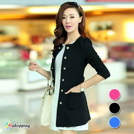 247 Shopping - Ao Khoac Vest Form Dai Dinh Nut
