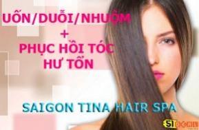 Combo uốn/duỗi hoặc nhuộm tóc kết hợp cộng với 01 suất phục hồi tóc tại SAIGON TINA HAIR & SPA. Chỉ với 119.000đ. Hãy để SAIGON TINA HAIR & SPA chăm sóc mái tóc của bạn vào mùa Giáng Sinh sắp đến.