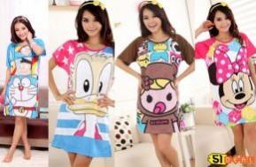 Đầm ngủ in hình các con vật: Chuột Mickey, mèo Hello Kitty, Angry bird... trong thế giới hoạt hình ngộ nghĩnh, đáng yêu. Chỉ có giá 69.000đ.