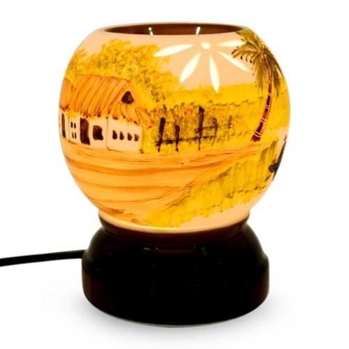 Đèn xông tinh dầu Gốm Sứ Bát Tràng họa tiết cảnh vật size 1