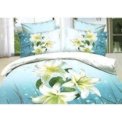 A Đây Rồi - Bo vo chan, ga phu, goi cotton nhung cao cap Tencel hoa xanh 1.6 x 2 m