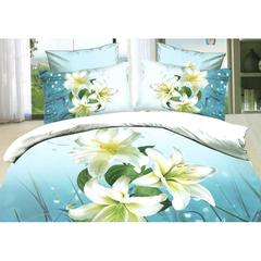 A Đây Rồi - Bo vo chan, ga phu, goi cotton nhung cao cap Tencel hoa xanh 1.8 x 2 m