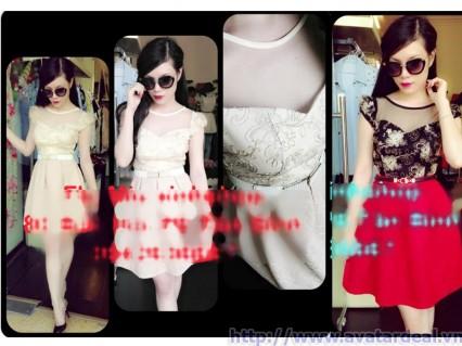 Đầm xòe họa tiết fa lưới Miuxinh
