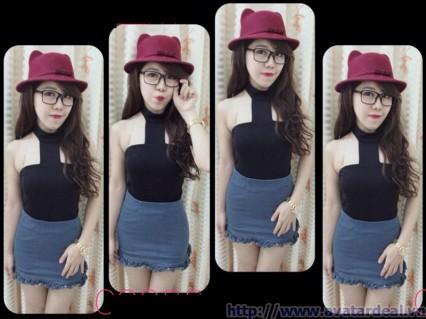 Đầm body cổ yếm phối váy jeans