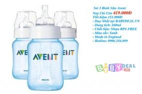 Bình Sữa Avent 260ml Xanh