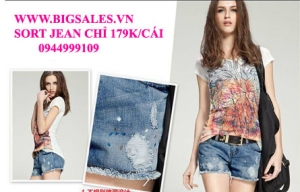 Big Sales - Short jeans rach ca tinh