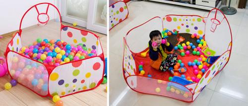 Nhà bóng mini rổ cho bé kèm 100 quả bóng