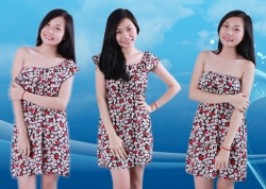 TP. HCM - Quận 1: Giảm giá 40% - Đầm hoa trễ vai mặc được 3 kiểu