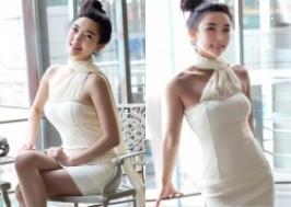 TP. HCM - Tân Bình: Giảm giá 42% - Đầm ôm cúp ngực phối khăn choàng cổ voan mềm