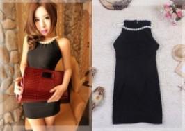 TP. HCM - Tân Bình: Giảm giá 29% - Đầm bó đen cổ ngọc trai sang trọng