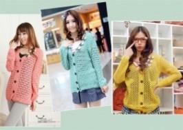 Hà Nội - Cầu Giấy: Giảm giá 50% - Áo cardigan len móc 3 con bướm xinh xắn , dễ thương