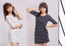 Hà Nội - Cầu Giấy: Giảm giá 43% - Váy kẻ gấp tay trẻ trung, phong cách