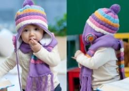 Hà Nội - Hai Bà Trưng: Giảm giá 45% - Bộ khăn mũ len kết hoa cho bé gái