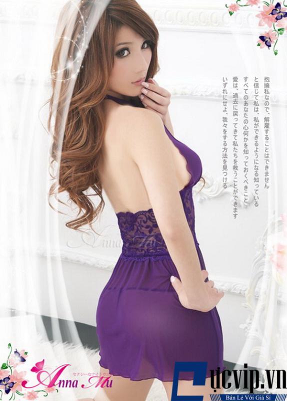 Đầm Ngủ Tím Ren Gơi Cảm -...