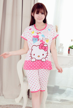 Cực vip - Do Bo Thun Mac Nha Kitty Love Hong MS480 (GS85)