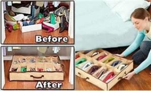 Hộp đựng giày bằng vải 12 ngăn siêu gọn nhẹ bảo vệ giày