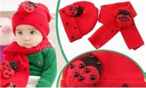Bộ khăn mũ len tai con bọ ngộ nghĩnh cho bé từ 03 tháng đến 03 tuổi
