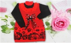 Váy len thêu trái tim cho bé gái - ấm áp và thời trang