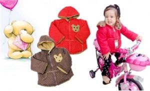 Áo khoác lông họa tiết gấu nhỏ dành cho bé 1 tuổi đến 4 tuổi