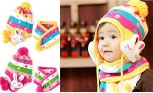 Bộ khăn mũ len tai thỏ LOẠI 1, DÀY DẶN cho trẻ em từ 0 - 03 tuổi