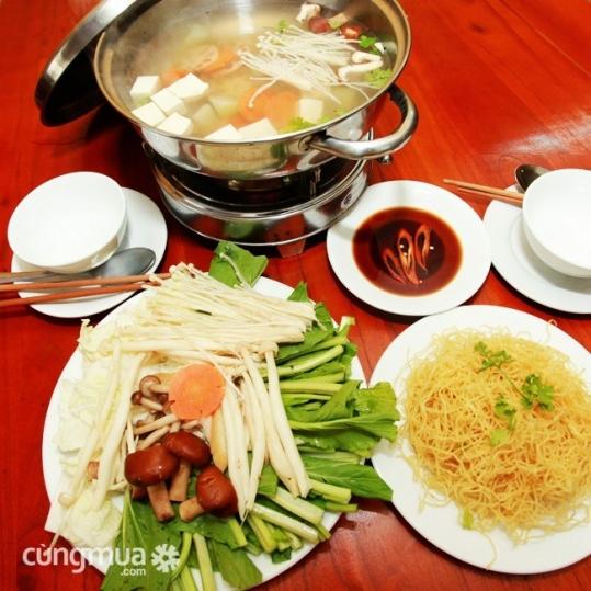 Lẩu chay tự chọn - Nhà hàng chay Hoa Thiên Đàng