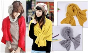 Khăn - áo khoác lửng 2 trong 1 - ấm áp và thời trang