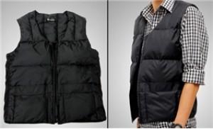 Áo khoác gile lông vũ 100% cho nam cực ấm áp, màu đen sang trọng