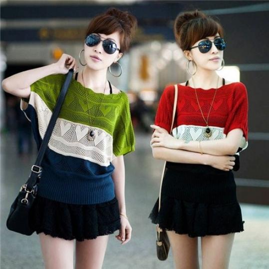 Áo cánh dơi phối 3 màu phong cách Hàn Quốc