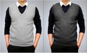 Áo gile nam, chất liệu len dầy dặn, màu ghi, đen thời trang