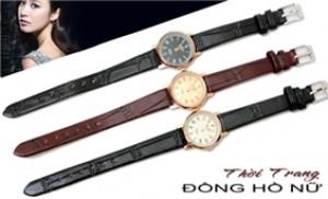 Đồng hồ nữ chống nước cao cấp, dây da thời trang