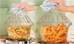 Rổ chế biến thực phẩm đa năng bằng thép không gỉ, quai cầm cách nhiệt