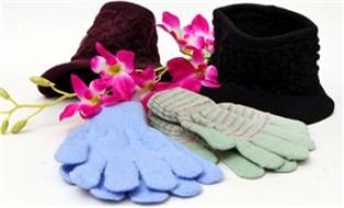 Combo mũ len lưỡi chai hở chóp và găng tay len thời trang