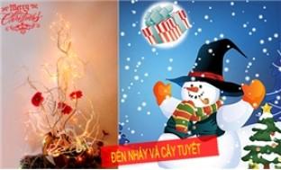 Combo cây tuyết (cao 1m)+ dây đèn nháy cao cấp trang trí đón Noel