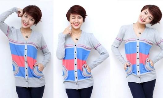 Áo len carigan dáng dài, có mũ, họa tiết xinh xắn, màu sắc tươi sáng - 1 - Thời Trang và Phụ Kiện - Thời Trang và Phụ Kiện