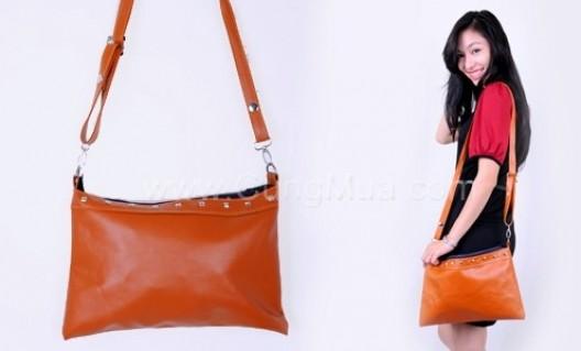 Túi thời trang Clutch kiểu dáng đơn giản, chất liệu da, màu đen và nâu