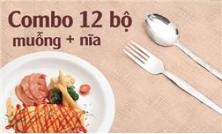 Combo 12 bộ muỗng nĩa inox