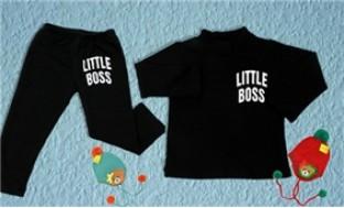 Bộ quần áo nỉ in chữ LITTEL BOSS cho bé