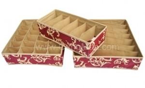 03 hộp đựng đồ lót xinh xắn - Chất liệu vải dày, thành hộp cứng cáp