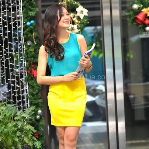 Bộ váy hoa xuân hoặc Colorblock