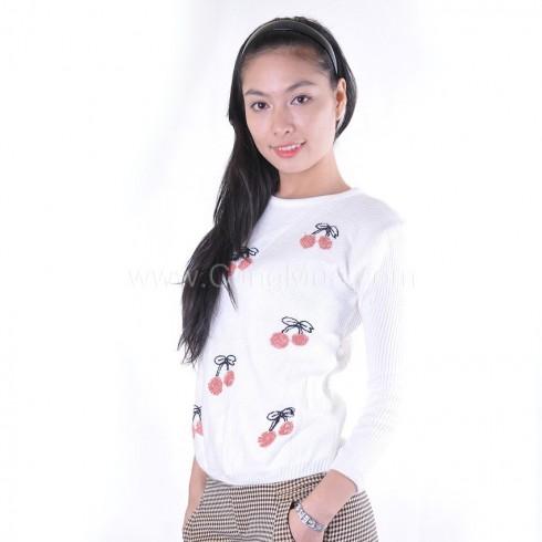 Áo len nữ họa tiết cherry