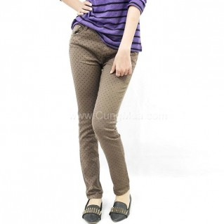 Quần Jeans lụa họa tiết chấm bi cho nữ