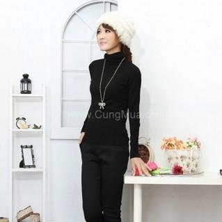 Áo len nữ cổ lọ tay dài