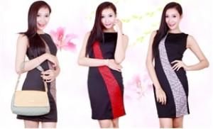 Đầm Mary Queen nền đen phối sọc caro thanh lịch, duyên dáng