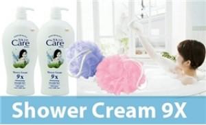 Combo 02 chai sữa tắm dê Skin Care 9x + 02 bông tắm tròn