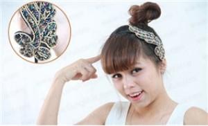 Băng đô cài tóc đính đá, chất liệu: inox không gỉ, đá, cườm - 1 - Thời Trang và Phụ Kiện