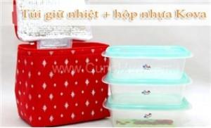Bộ 03 Hộp nhựa Hàn Quốc Kova + Túi giữ nhiệt