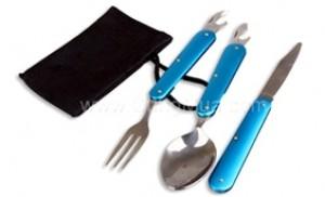 Bộ muỗng nĩa dao du lịch chất liệu inox, có khả năng gập gọn tiện lợi