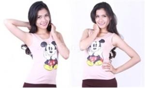 Áo thun ba lỗ in hình chuột Mickey xinh xắn dành cho bạn gái