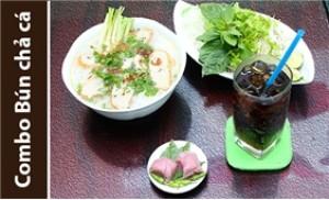 2 tô bún chả cá Quy Nhơn nóng hổi, thơm phức+2 ly nước ngọt+2 nem chua
