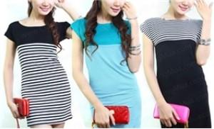 Đầm hở vai sọc ngang, tay ngắn - Thời trang cho bạn gái